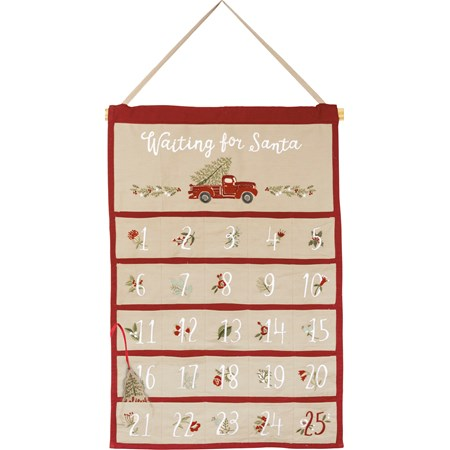 "Wall Countdown - Waiting For Santa - 18.50"" x 28"" - Cotton, Linen, Wood, Fabric"