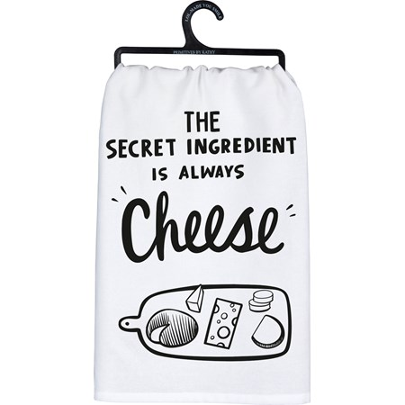 "Dish Towel - Secret Ingredient Is Always Cheese - 28"" x 28"" - Cotton"