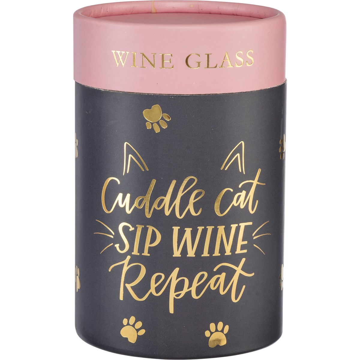 Wine Glass - Cuddle Cat Sip Wine Repeat - 15 oz. - Glass