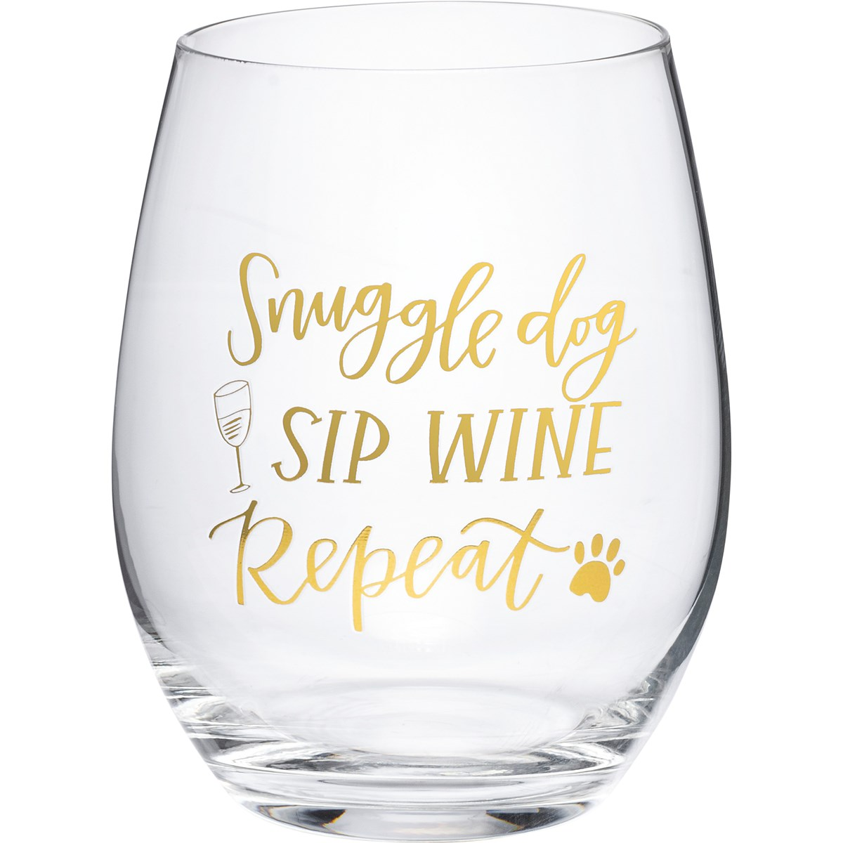 Wine Glass - Snuggle Dog Sip Wine Repeat - 15 oz. - Glass