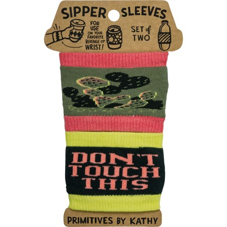 "Sipper Sleeves - Don't Touch This - 3.25"" x 3"" - Cotton, Nylon, Spandex"