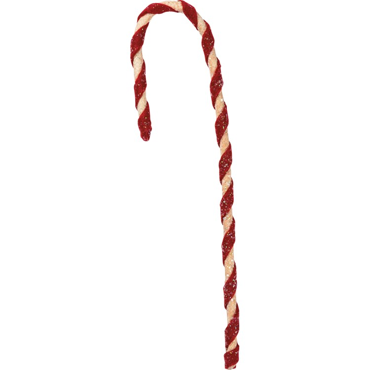 "Ornament - Fabric Candy Cane - 2"" x 8"" - Cotton, Glitter"