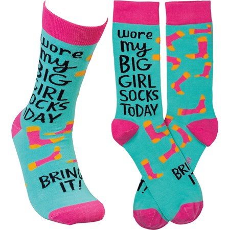 Socks - Wore My Big Girl Socks Today Bring It - One Size Fits Most - Cotton, Nylon, Spandex