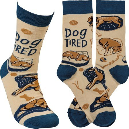 Socks - Dog Tired - One Size Fits Most - Cotton, Nylon, Spandex