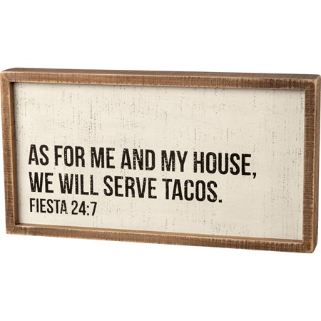 "Inset Box Sign - We Will Serve Tacos - 15"" x 8"" x 1.75"" - Wood"