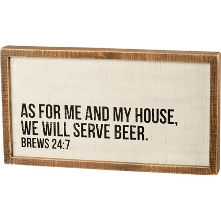 "Inset Box Sign - We Will Serve Beer - 20"" x 10.75"" x 1.75"" - Wood"