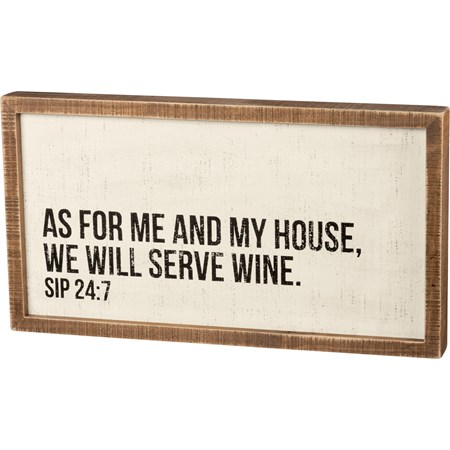 "Inset Box Sign - We Will Serve Wine - 20"" x 10.75"" x 1.75"" - Wood"