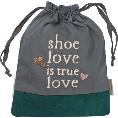 "Shoe Bag - Shoe Love Is True Love - 11"" x 14"" - Cotton, Canvas"