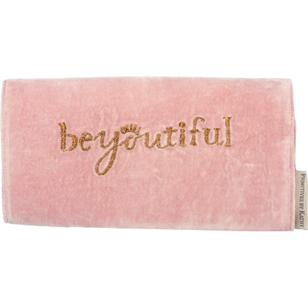 "Jewelry Roll - BeYouTiful Love Yourself - 9"" x 14"" - Cotton, Velvet"