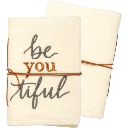 "Journal - Be You Tiful - 5"" x 7"" x 1"" - Velvet, Paper, Leather"