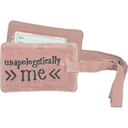 "Luggage Tag - Unapologetically Me - 3.25"" x 5.25"" - Velvet, Cotton, Plastic"