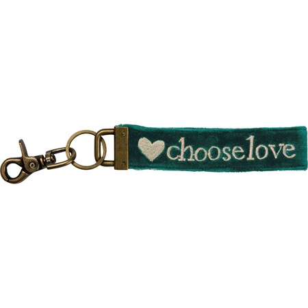 "Keychain - Choose Love - 8.75"" x 1.50"" - Velvet, Metal"