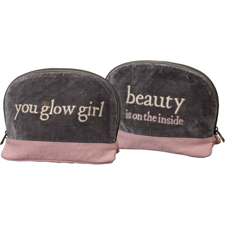 "Accessory Bag - You Glow Girl - 11"" x 7.50"" x 4.50"" - Velvet, Canvas, Metal"
