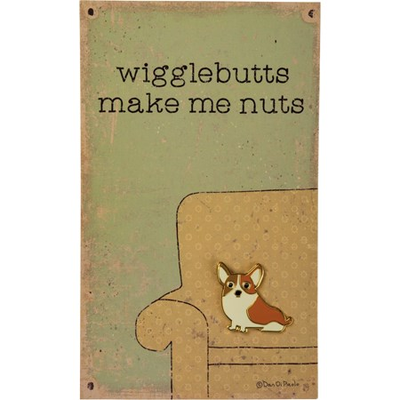"Enamel Pin - Corgi - Wigglebutts Make Me Nuts - Pin: 1"" x 1"", Card: 3"" x 5"" - Metal, Enamel, Paper"