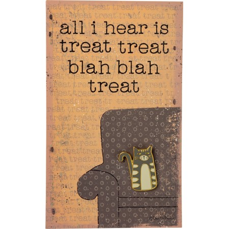 "Enamel Pin - Gray Cat - Hear Treat Treat Blah Blah - Pin: 1"" x 1"", Card: 3"" x 5"" - Metal, Enamel, Paper"