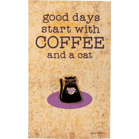 "Enamel Pin - Black Cat - Good Days Coffee And Cat - Pin: 1"" x 1"", Card: 3"" x 5"" - Metal, Enamel, Paper"