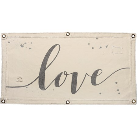 "Wall Banner - Love - 40"" x 20"" - Canvas, Metal"