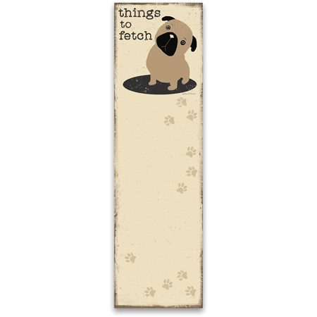 "List Notepad - Things To Fetch - 2.75"" x 9.50"" x 0.25"" - Paper, Magnet"