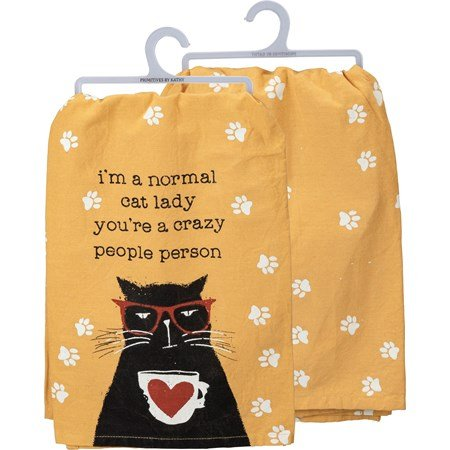 "Dish Towel - I'm A Normal Cat Lady - 28"" x 28"" - Cotton"