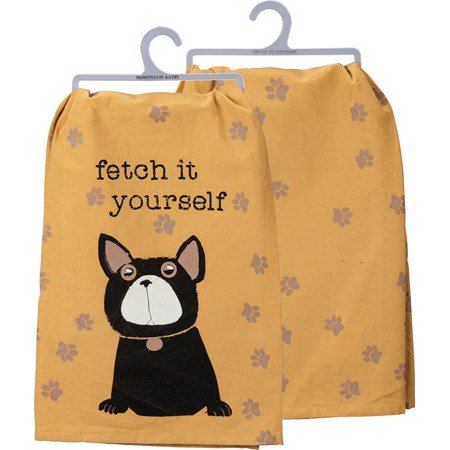 "Dish Towel - Fetch It Yourself - 28"" x 28"" - Cotton"