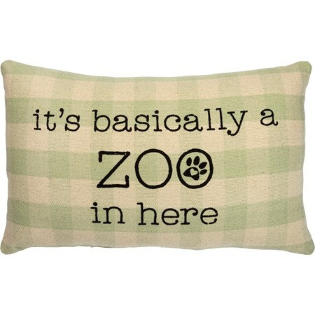 "Pillow - It's Basically A Zoo In Here - 15"" x 10"" - Cotton"