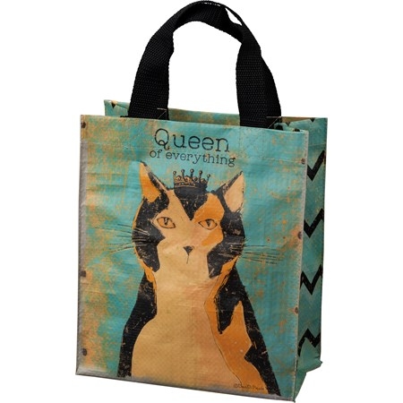 "Daily Tote - Cat - Queen Of Everything - 8.75"" x 10.25"" x 4.75"" - Post-Consumer Material, Nylon"