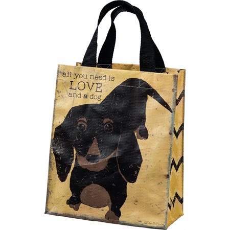 "Daily Tote - All You Need Is Love And A Dog - 8.75"" x 10.25"" x 4.75"" - Post-Consumer Material, Nylon"