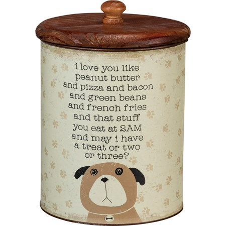 "Canister - Treats - I Love You Like - 5.25"" Diameter x 8.25"" - Metal, Paper, Wood"