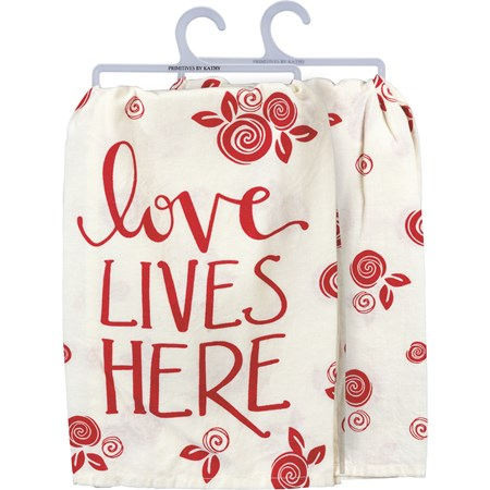 "Dish Towel - Love Lives Here - 28"" x 28"" - Cotton"