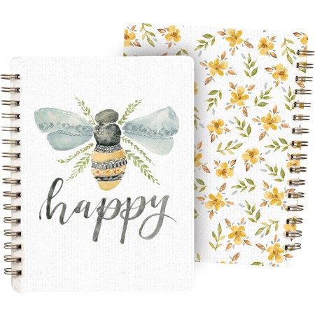 "Spiral Notebook - Be Happy - 7"" x 9"" x 0.50"" - Paper, Metal"