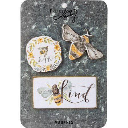 "Magnet Set - Bees - 2"" x 2"", 2"" x 2, Card: 5"" x 7"" - Wood, Paper, Metal, Magnet"