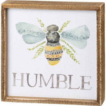 "Inset Box Sign - Humble - 8"" x 8"" x 1.75"" - Wood, Paper"