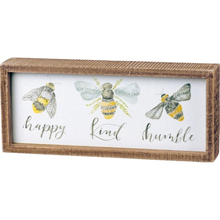 "Inset Box Sign - Bees - 10"" x 4.25"" x 1.75"" - Wood, Paper"