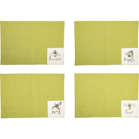 "Pocket Placemat Set - Bees - 19"" x 13"", Pocket: 6"" x 4"" - Cotton"