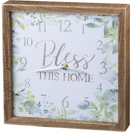 "Clock - Bless This Home - 10"" x 10"" x 1.75"" - Wood, Paper, Metal"
