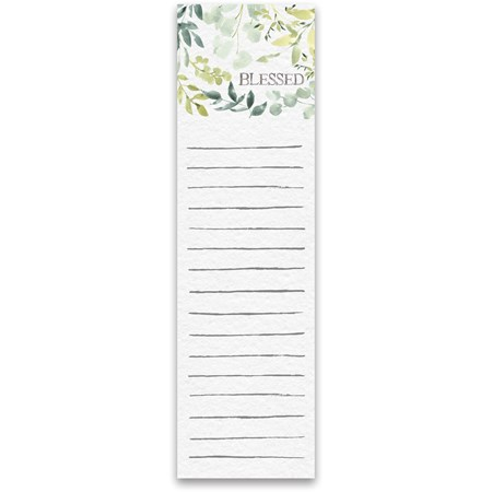 "List Notepad - Blessed - 2.75"" x 9.50"" x 0.25"" - Paper, Magnet"