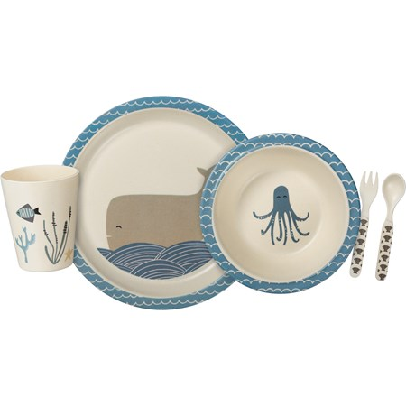 "Meal Set - Under The Sea - 9.25"" Diameter, 7.50"" Diameter, 0.50"" x 3"", 9 oz. - Bamboo Fiber, Melamine"