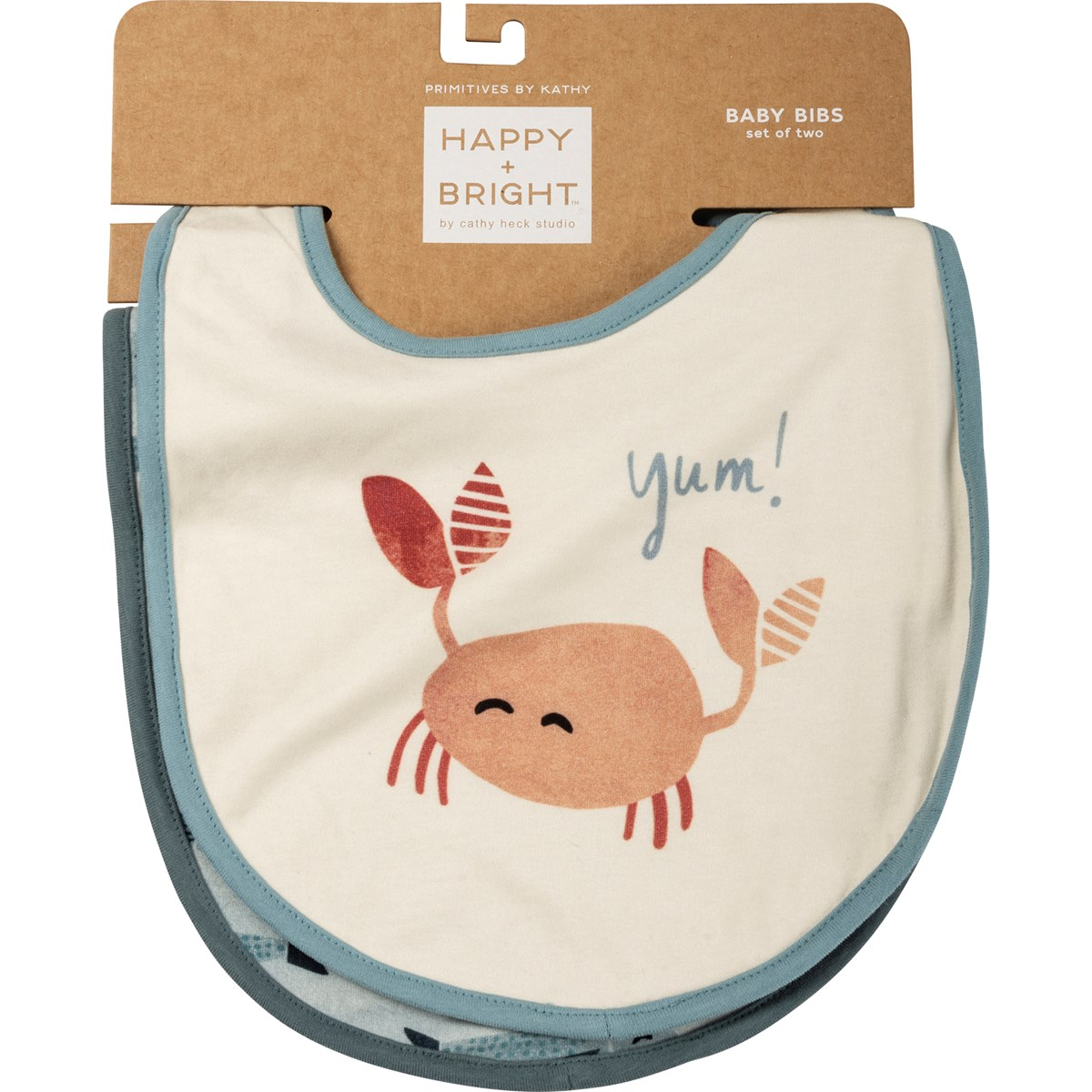 "Bib Set - Crab Yum - 10"" x 14"" - Cotton, Metal"