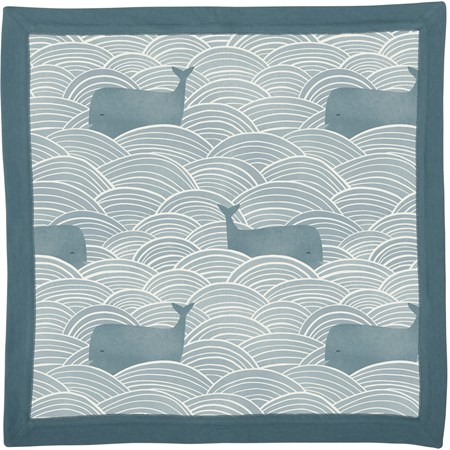 "Security Blanket - Whales Blue - 16"" x 16"" - Cotton"