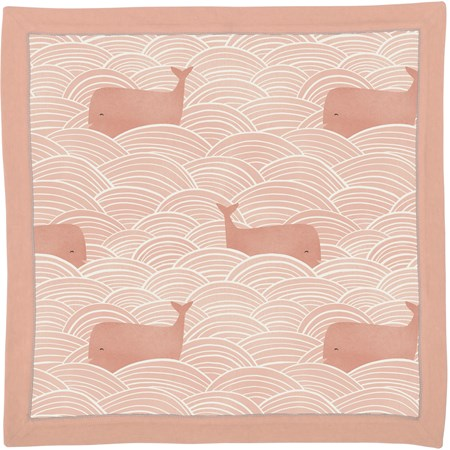 "Security Blanket - Whales Pink - 16"" x 16"" - Cotton"