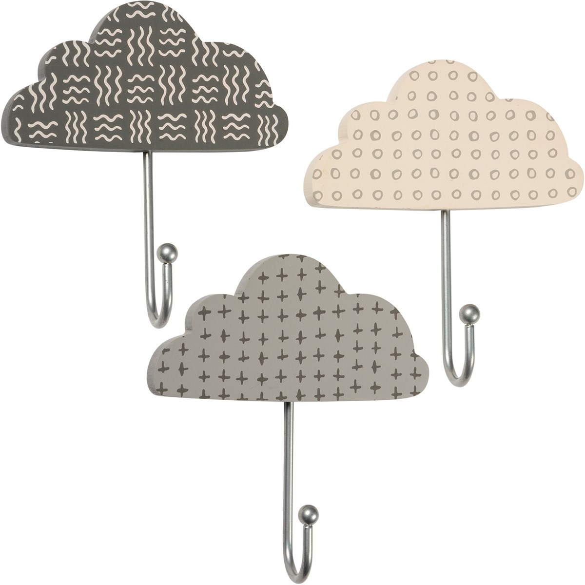 "Wall Hook Set - Clouds - 5.25"" x 2.65"" - Wood, Metal"