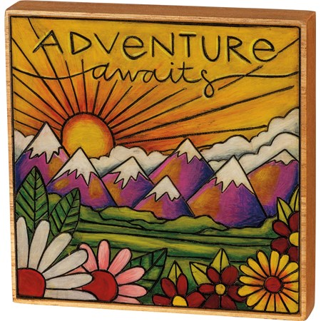 "Block Sign - Adventure Awaits - 5.75"" x 5.50"" x 1"" - Wood"