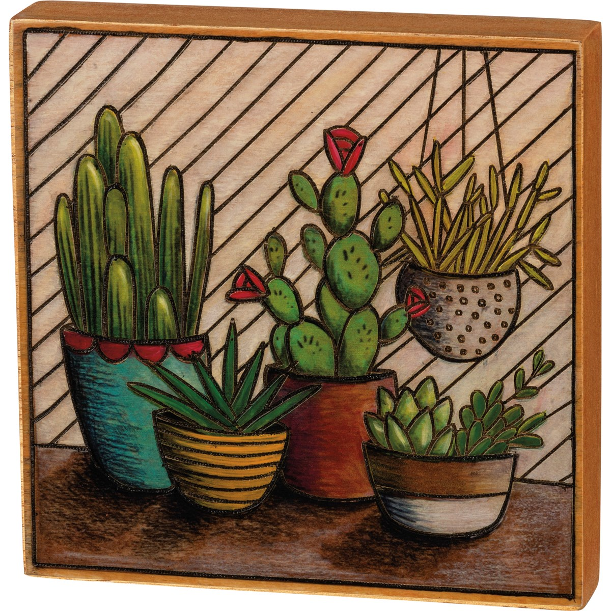 "Block Sign - Cactus - 5.75"" x 5.50"" x 1"" - Wood"