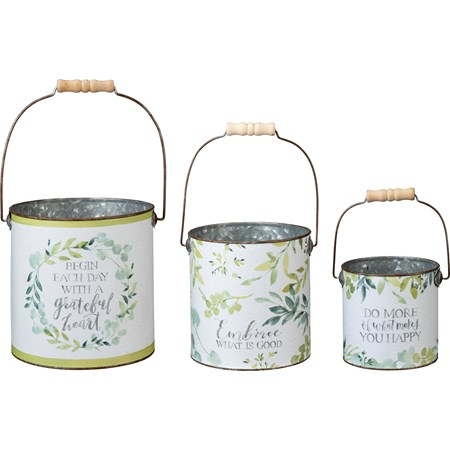 "Bucket Set - Begin Each Day With A Grateful Heart - 7.25"" Diameter x 7.25"", 6"" Diameter x 6.25"", 5"" Diameter x 4.75"" - Metal, Paper, Wood"