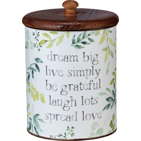 "Canister - Dream Big Live Simply Spread Love - 5.25"" Diameter x 8.25"" - Metal, Paper, Wood"