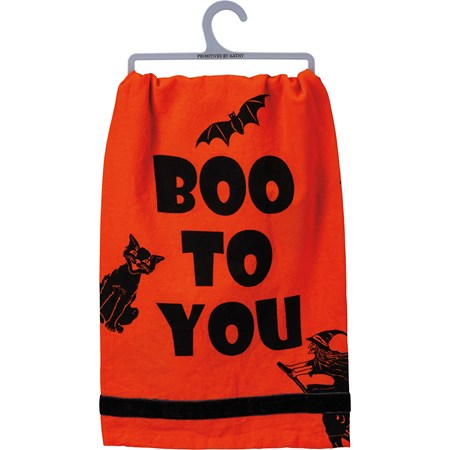 "Dish Towel - Boo To You - 28"" x 28"" - Cotton, Velvet"
