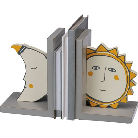 "Bookends - Sun And Moon - 5"" x 7"" x 4"" - Wood"