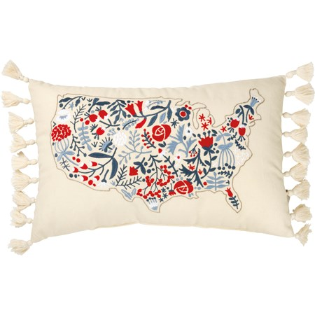 "Pillow - Floral USA Map - 19"" x 12"" - Cotton, Linen"