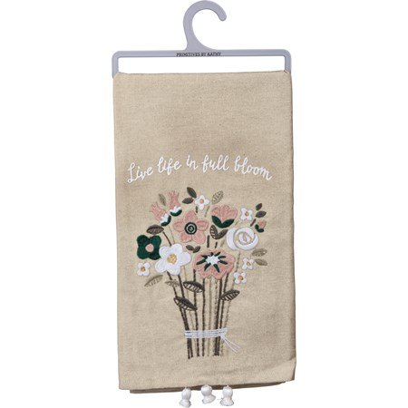 "Dish Towel - Live Life In Full Bloom - 20"" x 26"" - Cotton, Linen"
