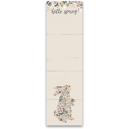 "List Notepad - Hello Spring - 2.75"" x 9.50"" x 0.25"" - Paper, Magnet"